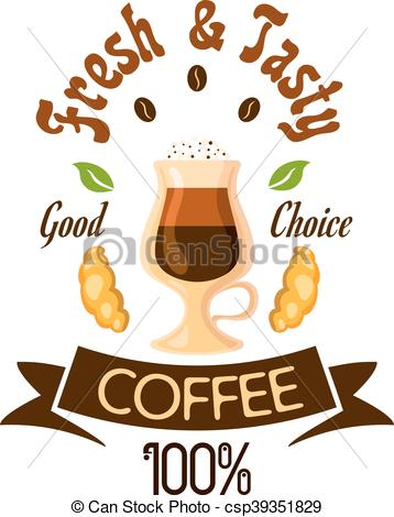358x470 Fresh And Tasty Coffee Fast Food Label. Coffee Cafe Poster. Coffee