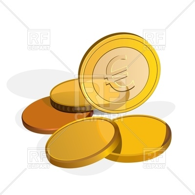 400x400 Euro Coins, One Stands On The Edge Royalty Free Vector Clip Art