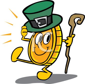 350x346 Royalty Free Clip Art Image Dancing Gold Coin Wearing A Shamrock Hat