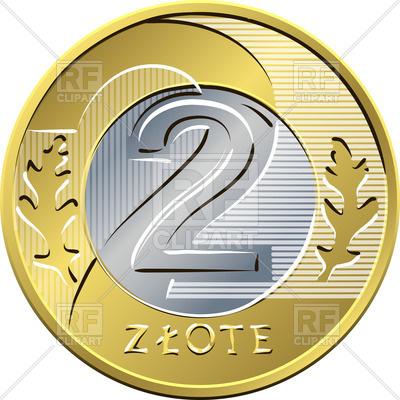 400x400 Two Polish Coin Royalty Free Vector Clip Art Image