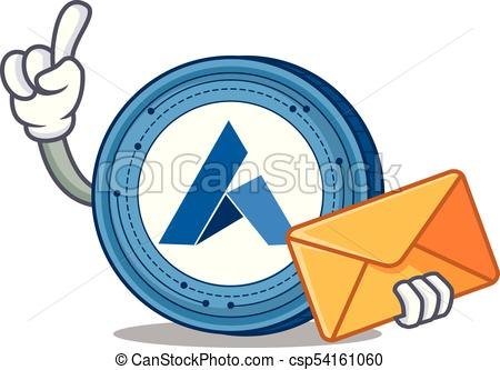 450x333 With Envelope Ardor Coin Character Cartoon Vector Clip Art