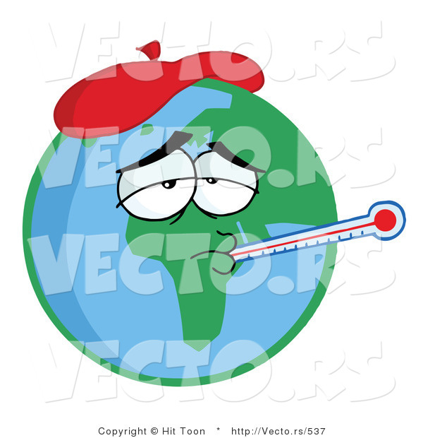600x620 Vector Of A Sick Cartoon Earth Wearing Ice Pack While Checking