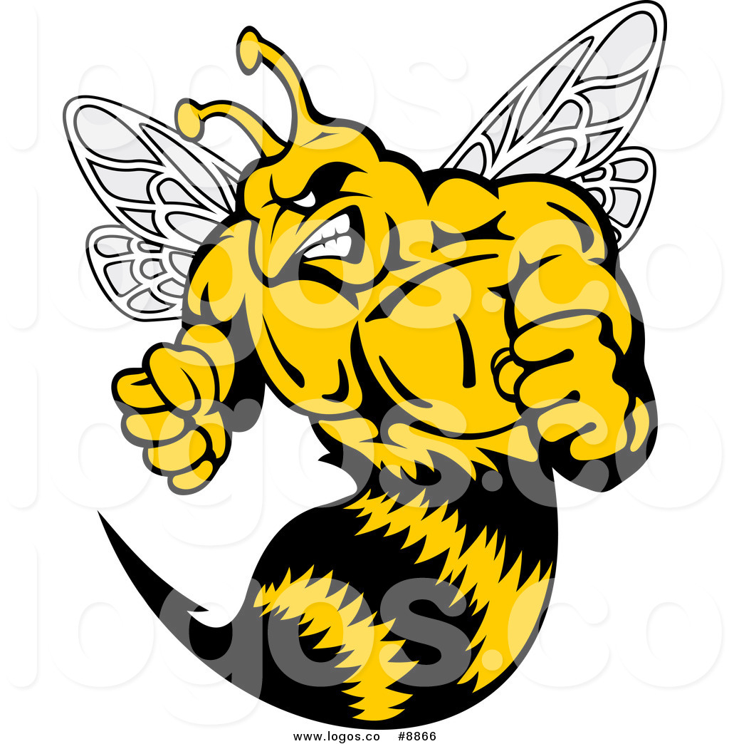 1024x1044 Royalty Free Clip Art Vector Logo Of A Muscular Angry Wasp By