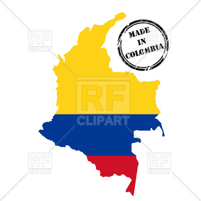 400x400 Made In Colombia Stamp, Map And Flag Royalty Free Vector Clip Art