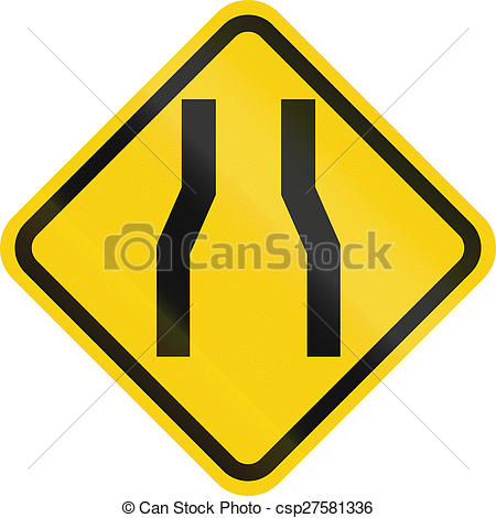 450x470 Narrow Road Ahead In Colombia. Colombian Road Warning Sign