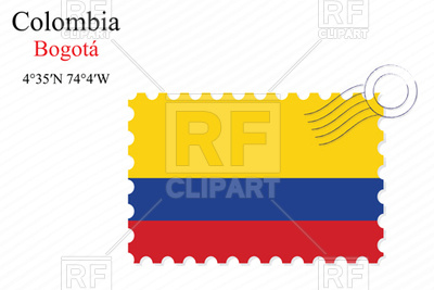400x267 Postage Stamp With Flag Of Colombia Royalty Free Vector Clip Art