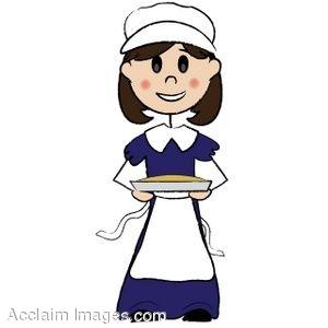 300x300 Clip Art Of A Pilgrim Girl Holding A Pie