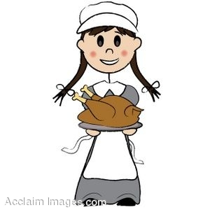 300x300 Clip Art Of A Pilgrim Girl Holding A Roasted Turkey