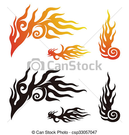 450x470 Fire And Flame Graphic Elements In Color, Black And White Drawing