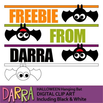 350x350 Halloween Clip Art Free Set Featuring Hanging Bat Up Side Down