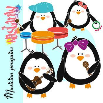 350x350 Musician Penguins Clipart Clip Art, Musicians And Penguins