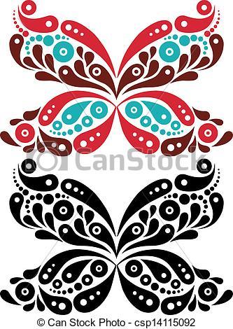 333x470 Beautiful Butterfly Tattoo. Artistic Pattern In Butterfly Eps