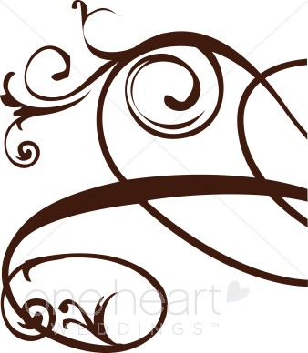 338x388 Brown Right Edge Floral Flourish Clipart Clipart Color Variations