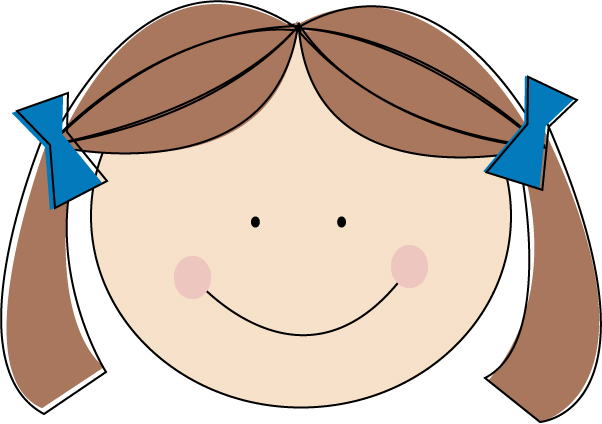 602x424 Clipart Of A Girl With Brown Hair Pencil And In Color