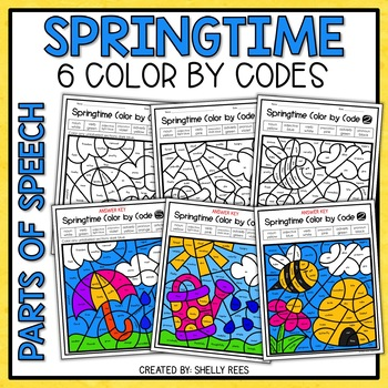 350x350 Spring Coloring Pages Parts Of Speech Color By Number By Shelly Rees