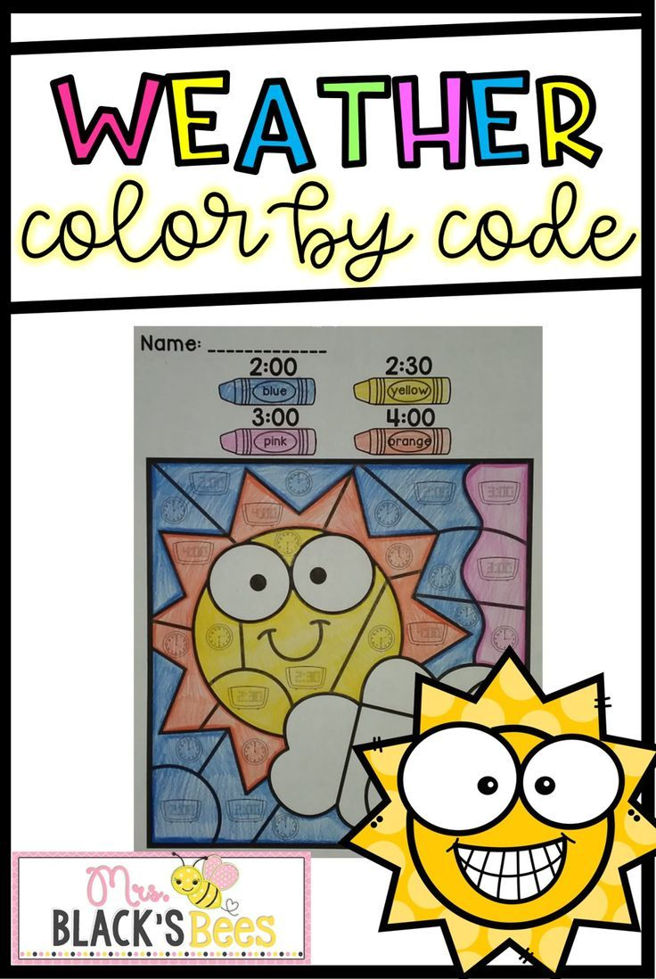 736x1098 Weather Color By Code Kindergarten, Worksheets And Weather