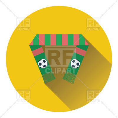400x400 Flat Color Design Of Football Fans Scarf Icon Royalty Free Vector
