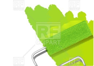 400x282 Paint Roller Painting Wall In Lime Green Color Royalty Free Vector
