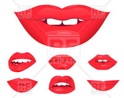 400x316 Set Of Glamour Lips With Red Lipstick Color Royalty Free Vector