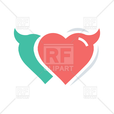 400x400 Twins Heart Of Devil Love Red And Green Color Royalty Free Vector