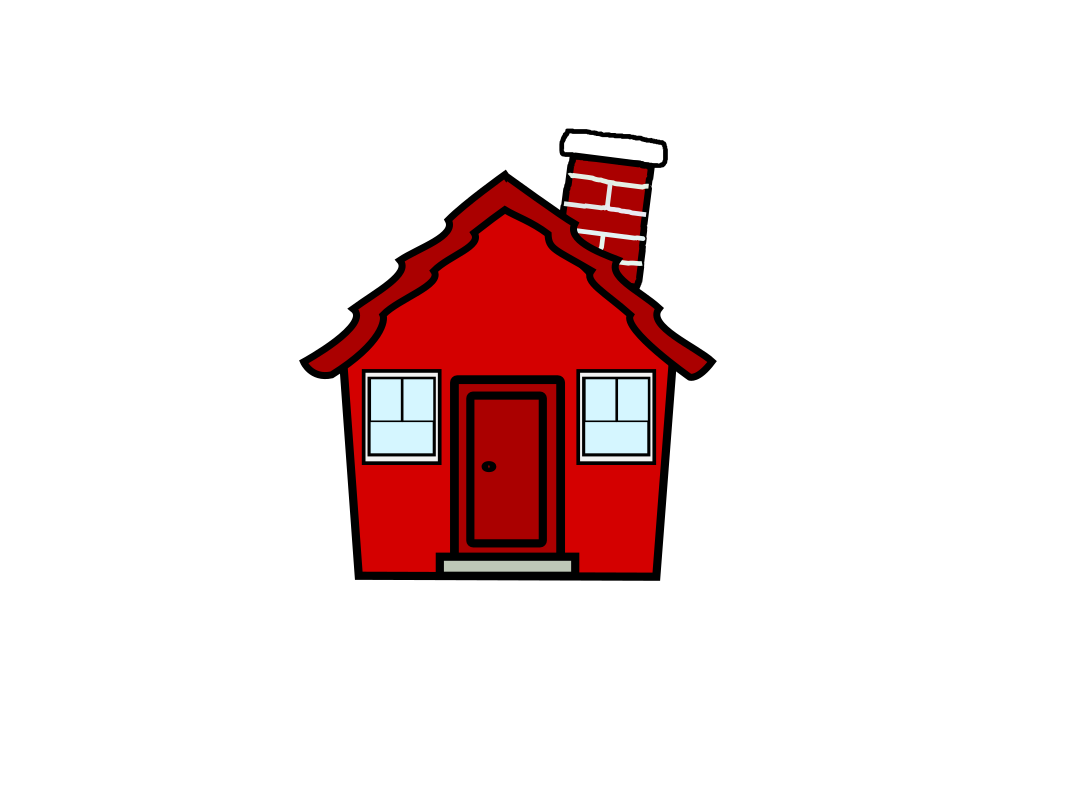 1067x800 Clip Art House Red Color