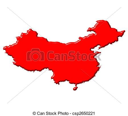 450x407 China 3d Map With National Color Isolated In White Clipart
