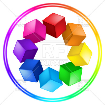 400x400 Cubes Color Wheel Palette In Ring Royalty Free Vector Clip Art