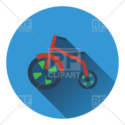 400x400 Baby Tricycle Icon, Flat Color Design Royalty Free Vector Clip Art