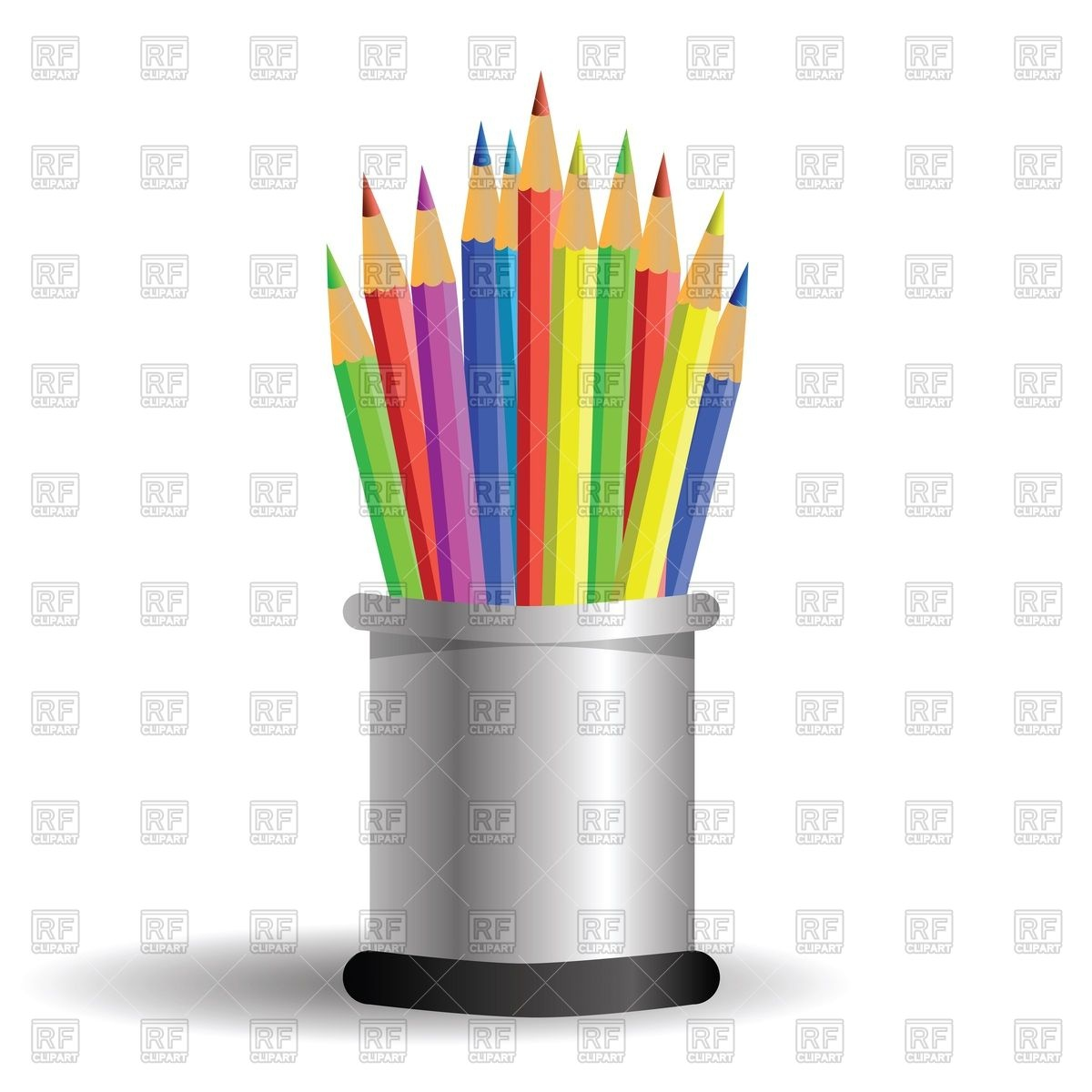 1200x1200 Colored Pencils In Cylindrical Pencil Box Vector Image Vector
