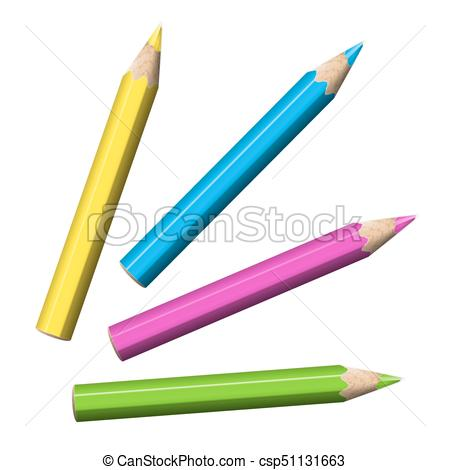 450x470 Four Sharp Colored Pencils Of Blue, Green, Pink, Yellow Clip