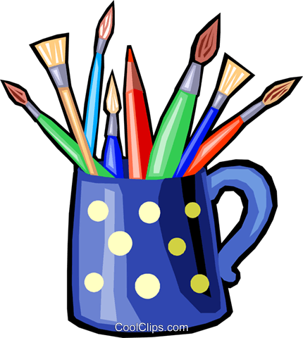 430x480 Colored Pencils And Paint Brushes Royalty Free Vector Clip Art