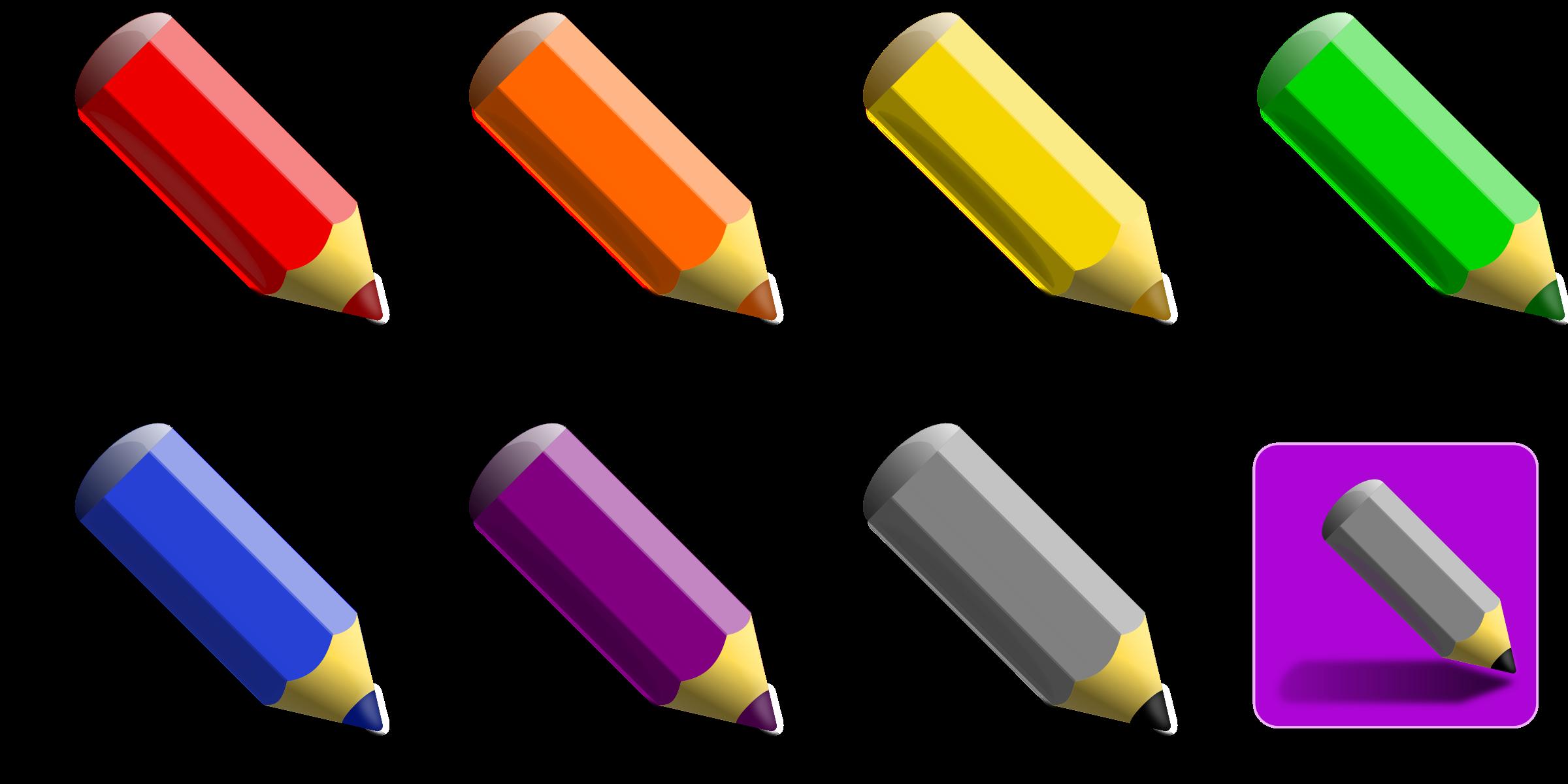 2400x1200 7 Color Pencils Icons Png