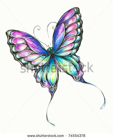 381x470 Butterfly Clipart Colored