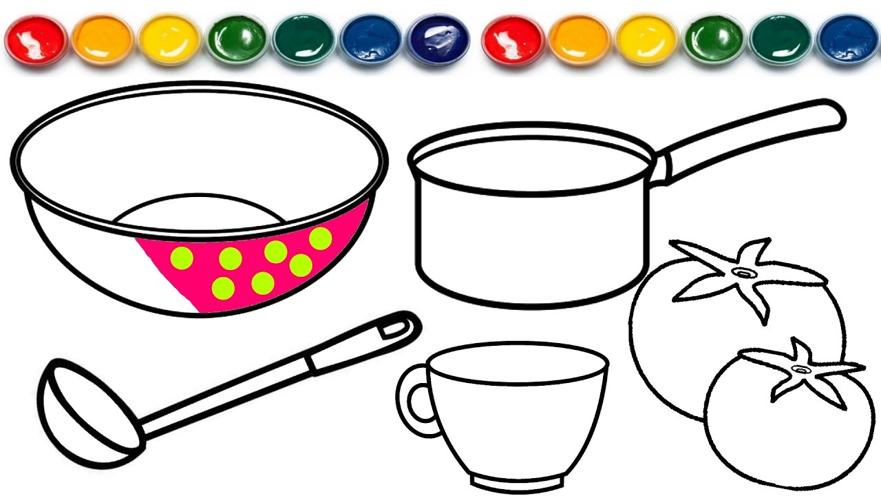 1280x720 Cutlery Coloring Page Coloring Book Learn Colors For Children