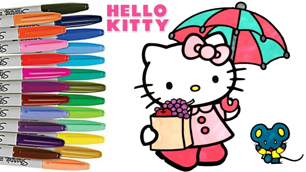1280x720 Hello Kitty And Friends Coloring Book Page How To Color For Kids