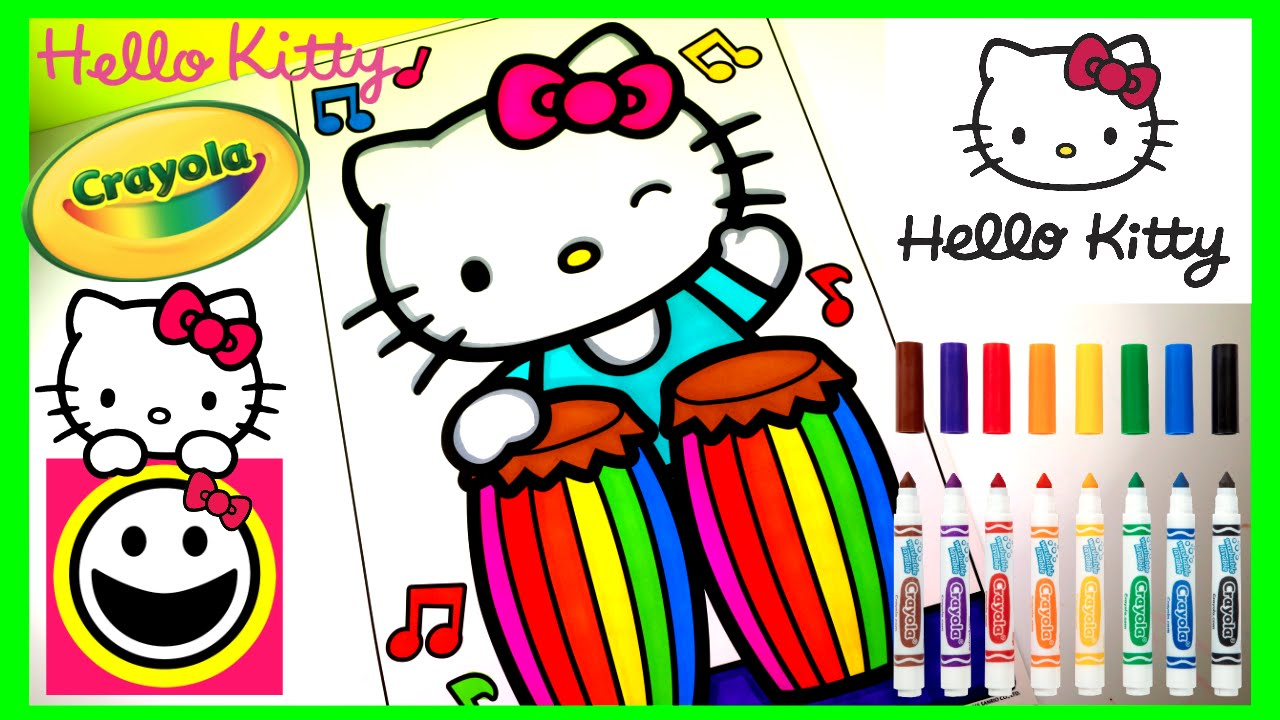 1280x720 Hello Kitty Playing The Conga Drums! Crayola Coloring Page