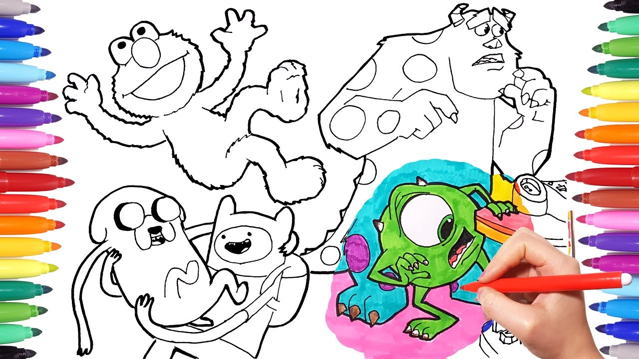 1280x720 Cartoon Characters Coloring Book Page 1 Monster Amp Co Adventure