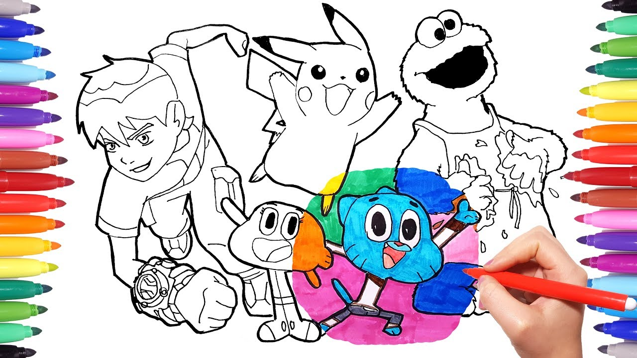 1280x720 Cartoon Characters Coloring Book Page 4 Ben10 Cookie Monster