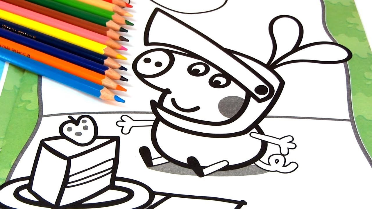 1280x720 Peppa Pig Coloring Book Pages For Children With George Fun Art