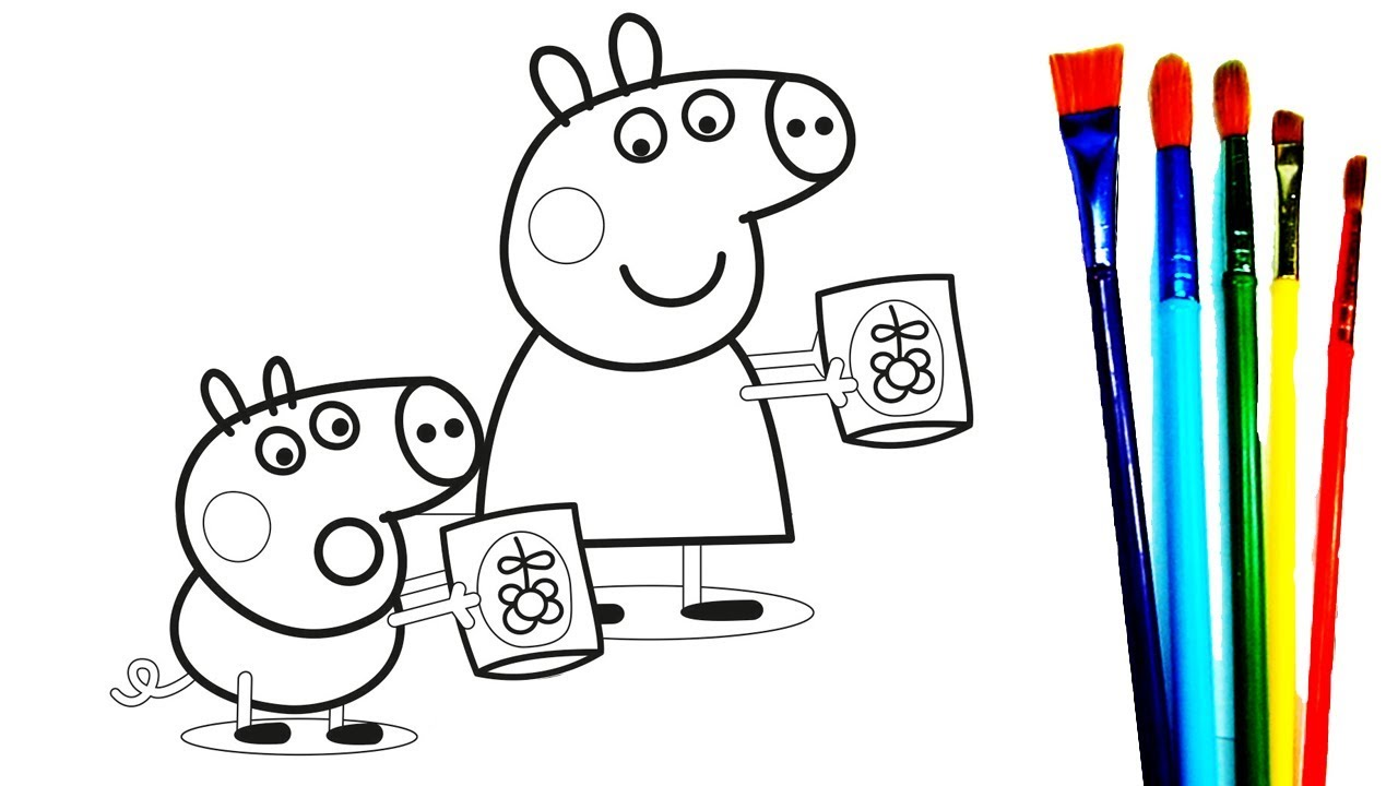 1280x720 Peppa Pig George Friends In A Garder Coloring Book Pages