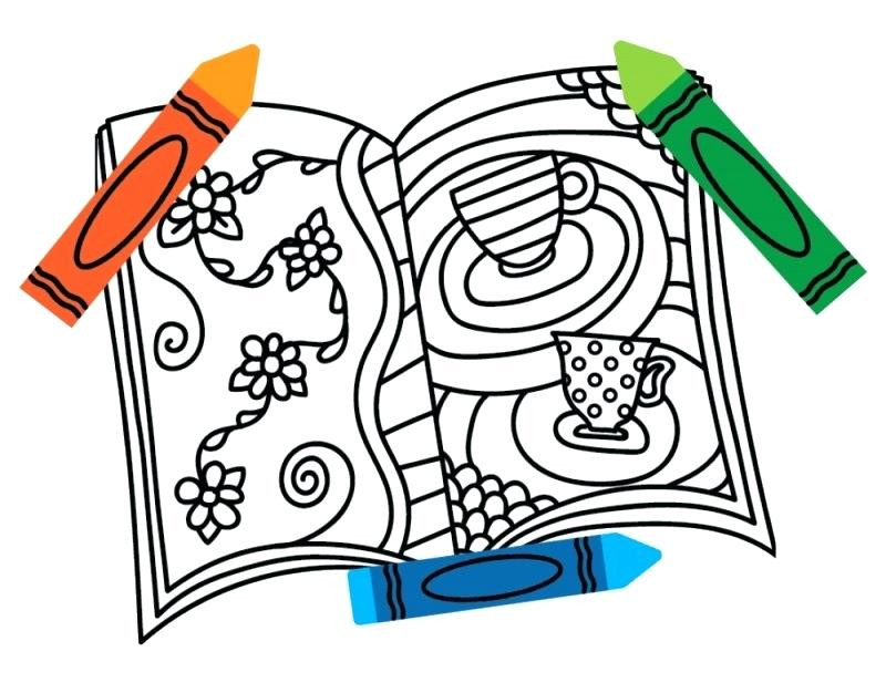 800x626 Coloring Book Crayon Cute Books And Crayons Colouring Pages 24918