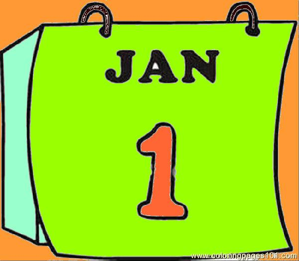 600x525 Calendar Page Clipart Image Coloring Page