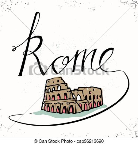 450x470 Rome Hand Lettering And Colosseum Hand Drawn. Vector Eps
