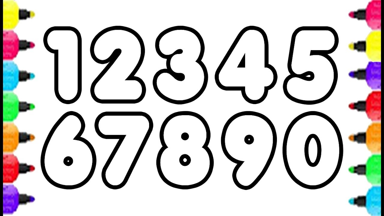 1280x720 Numbers Coloring Pages