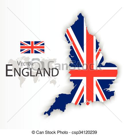 450x470 England Flag And Map ( United Kingdom Of Great Britain