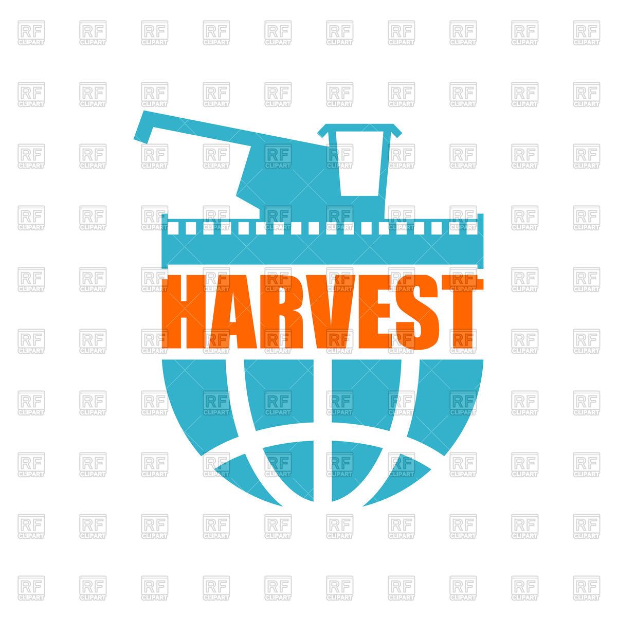 1200x1200 Harvest Logo. Agriculture Emblem. Combine Harvester And Earth