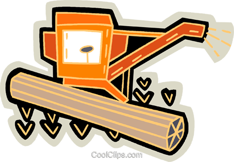 480x333 Grain Harvester, Combine Royalty Free Vector Clip Art Illustration