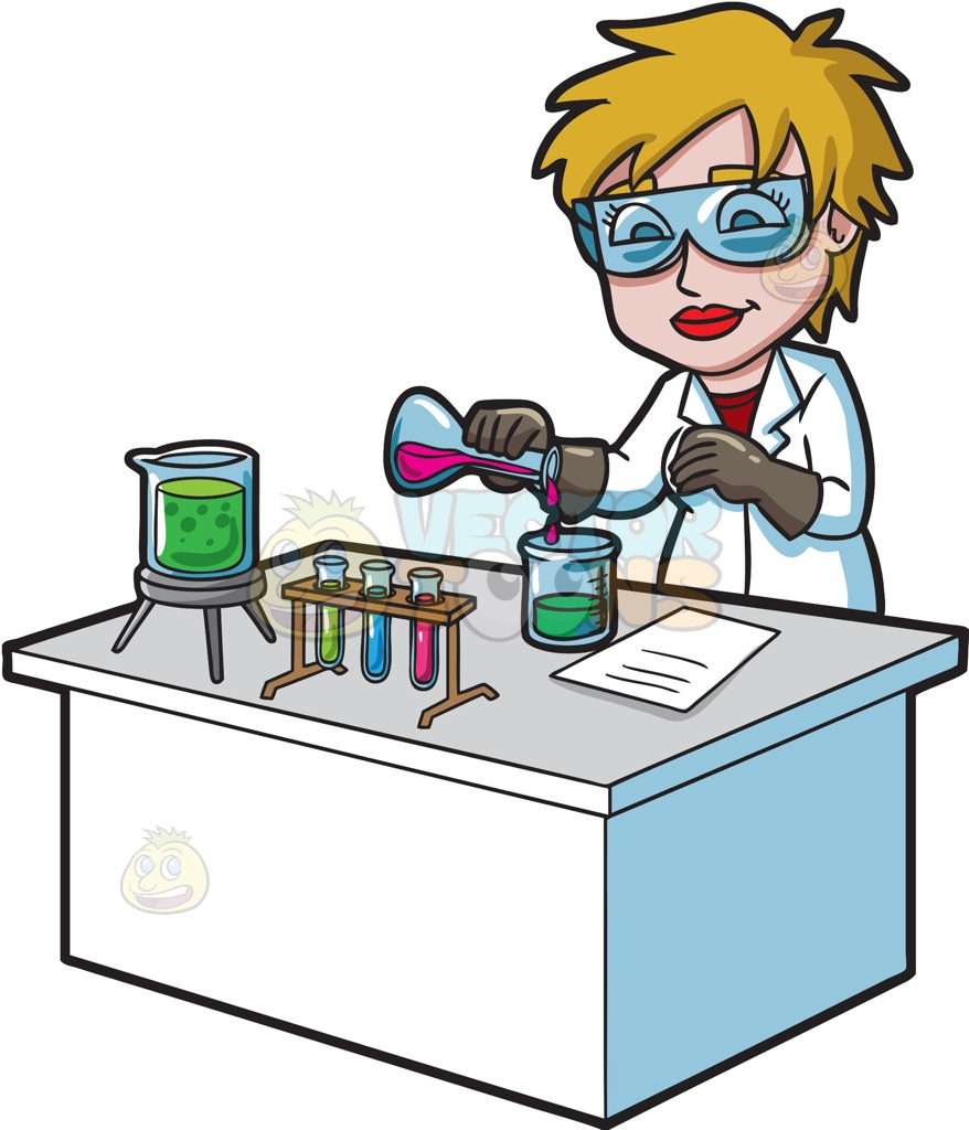 878x1024 A Female Scientist Combining Mixtures During An Experiment Cartoon