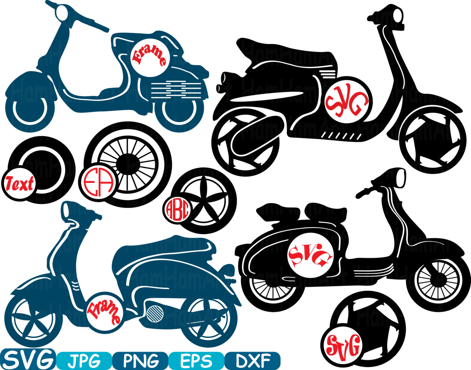 1500x1178 Circle Scooters Silhouette Cutting Files Svg Clipart Motorbike
