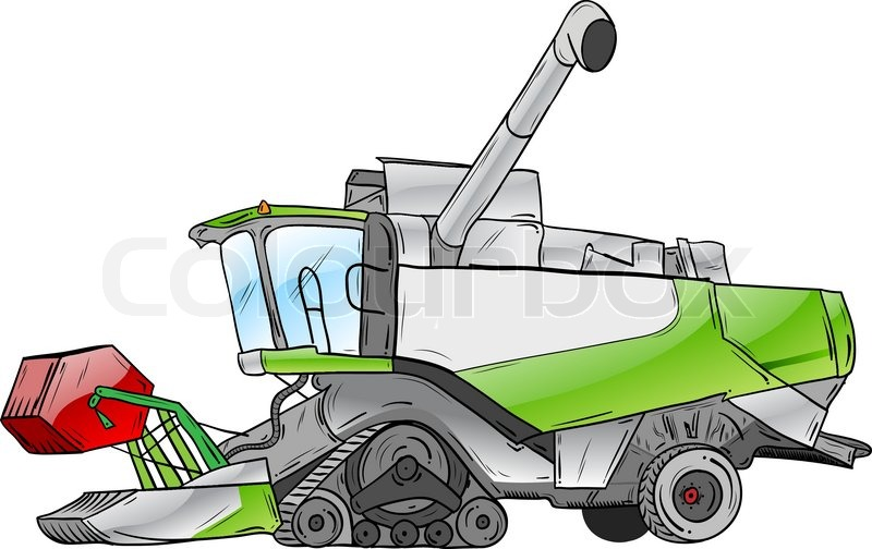 800x504 Green Harvester Isolated On The White Stock Vector Colourbox